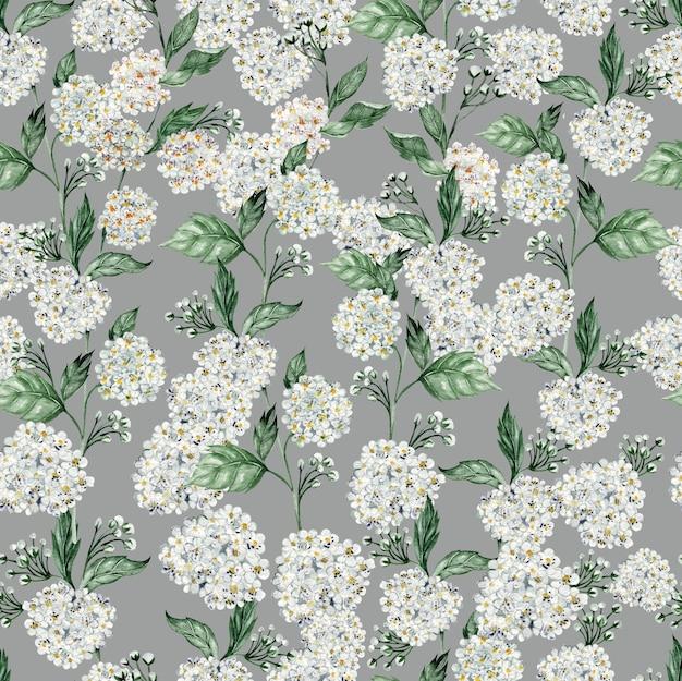 シモツケの花を持つ美しい水彩シームレス パターン。図