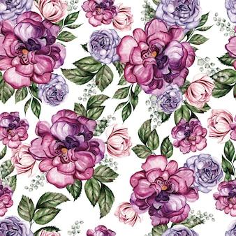 春の牡丹とシモツケの花を持つ美しい水彩シームレス パターン。図