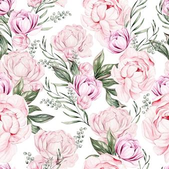 春の牡丹の花を持つ美しい水彩画のシームレス パターン。図