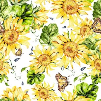 ひまわりと葉の美しい水彩画のシームレスなパターン。図