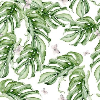 Красивая акварель бесшовные модели с тропическими листьями. иллюстрация