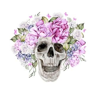 Красивый акварельный череп с цветами пиона и роз. иллюстрация