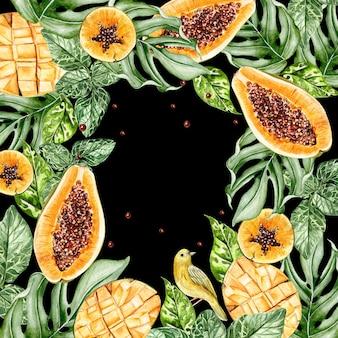 Красивая акварель тропическая карта с фруктами папайи и манго. иллюстрация