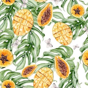 Красивый акварельный тропический узор с плодами папайи и манго, бабочками. иллюстрация