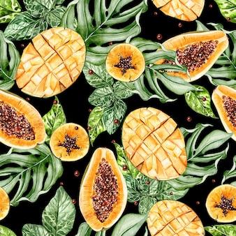 Красивый акварельный тропический узор с фруктами, папайей и манго, желтой птицей. иллюстрация