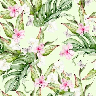Красивый акварельный тропический узор с цветами гибискуса и тропическими листьями. иллюстрация