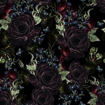 Красивая акварель с розами и узором синих цветов на черном фоне