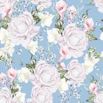 Красивая акварель с розами и голубым цветочным узором на голубом фоне