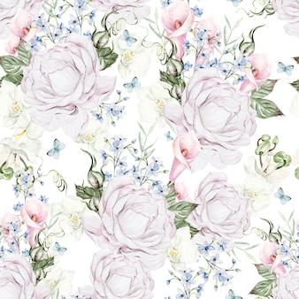 Красивая акварель с розами и узором синих цветов на белом фоне