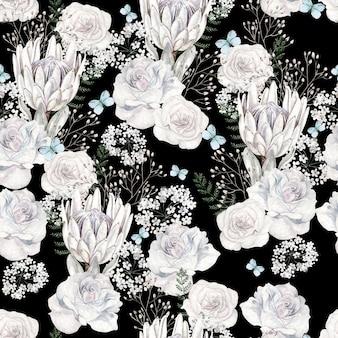 Красивая акварель с узором цветы розы на черном фоне