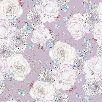 Красивая акварель с узором цветы розы на светло-розовом фоне