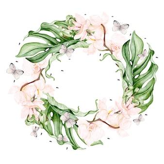 열대 잎, 난초 꽃과 나비와 함께 아름 다운 수채화 화 환. 삽화