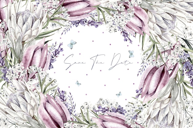 Красивый акварельный венок с белым цветком гипсофила
