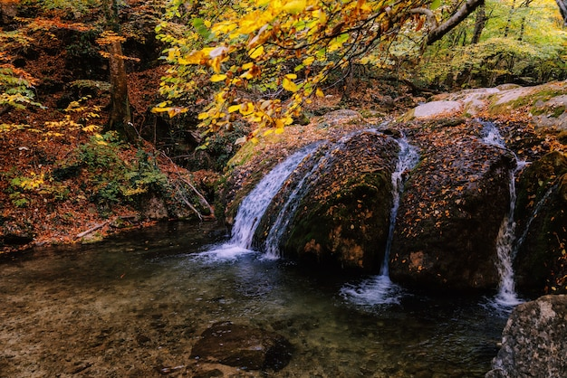 Beautiful waterfall in the autumn forest on a mountain stream