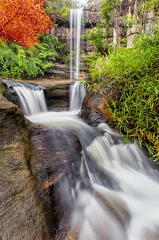 The beautiful waterfall in deep forest during raining season at pha taem national park