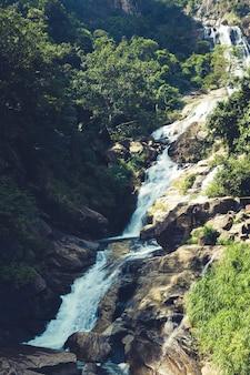 Beautiful waterfall in the forests of sri lanka. ramboda waterfall
