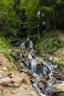 관광을 위한 여름 쾌적한 환경의 녹색 깊은 숲의 아름다운 폭포
