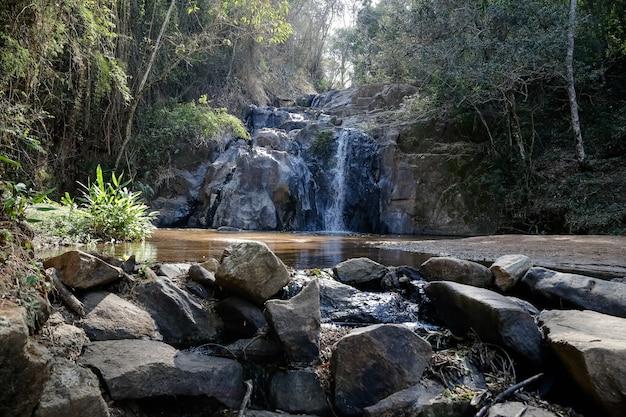 強い滝のある自然の真ん中にある美しい滝
