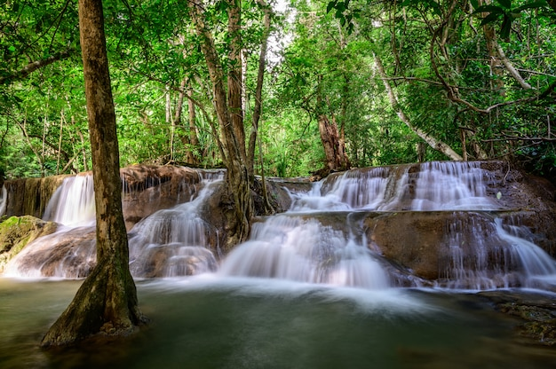 Beautiful waterfall is name hua mae kamin waterfall in erawan national park
