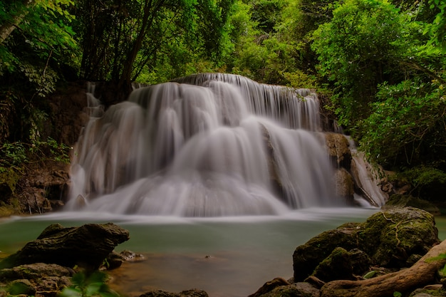 The beautiful waterfall in the park.