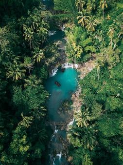 녹색으로 둘러싸인 강으로 흐르는 아름다운 폭포