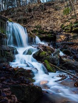 森の中の苔むした岩のある美しい滝