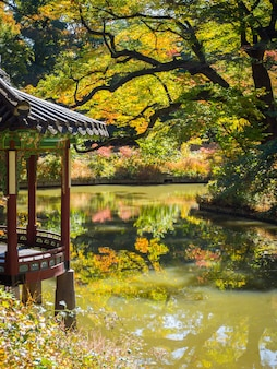 Красивый павильон на набережной в корейском стиле в южной корее