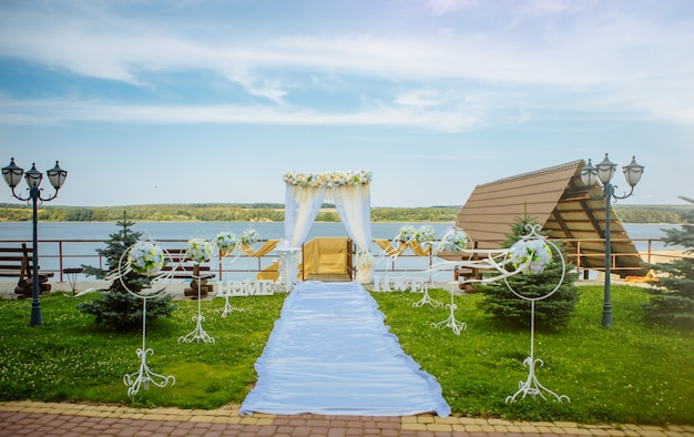 Beautiful wedding arch and installed by the sea