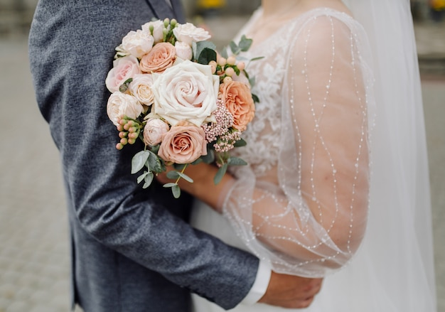 Beautiful wedding bouquet of flowers