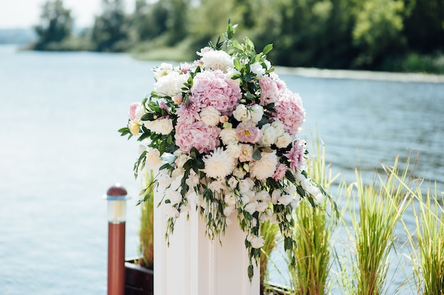 Beautiful wedding bouquet in the park