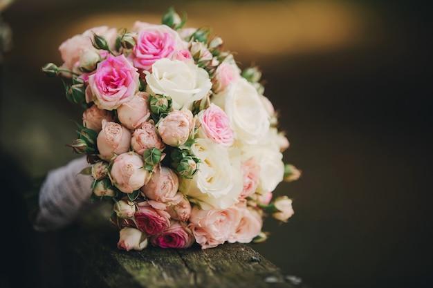 Beautiful wedding bouquet. stylish wedding bouquet bride roses, wedding decor.