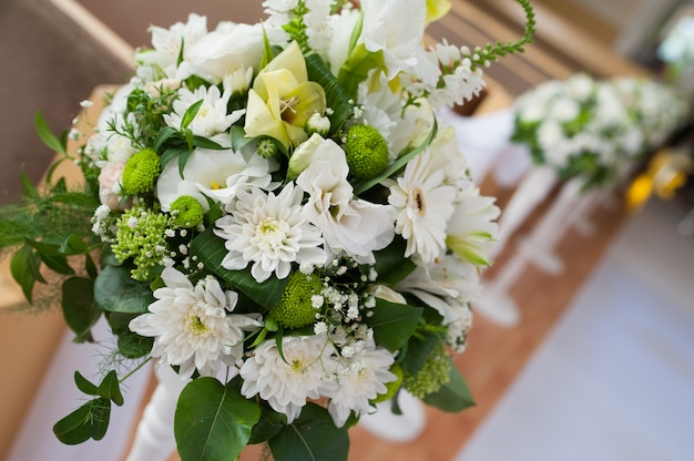 Beautiful wedding bouquet of white flowers for decor