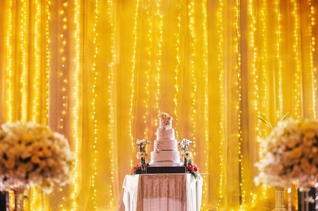 Beautiful wedding cake on stage decoration