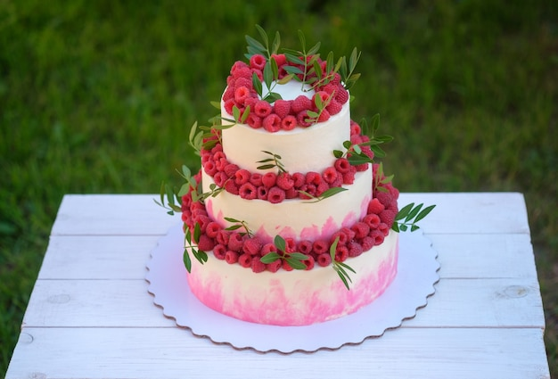 Beautiful wedding cake in three tiers with white and pink cream, decorated with fresh raspberries, in the summer garden