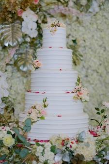 Beautiful wedding cake with blur background