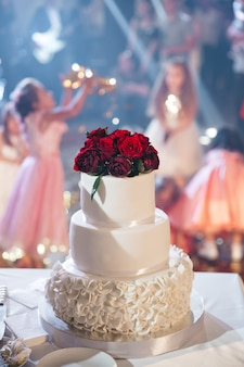 Beautiful wedding cake with flowers