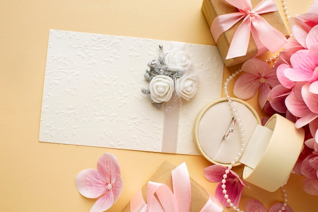Beautiful wedding concept flowers and invitation