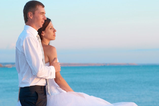 美しい結婚式のカップル-ビーチで抱き締める新郎新婦。新婚