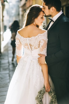Beautiful wedding couple in Venice