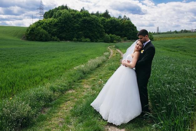 아름 다운 웨딩 커플 그린 필드에 걷고있다