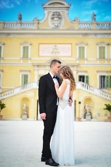 Beautiful wedding couple on outdoor photoshoot