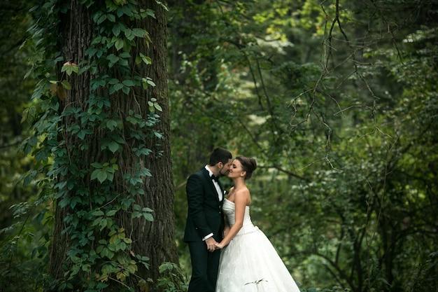 숲에서 포즈를 취하는 아름 다운 웨딩 커플