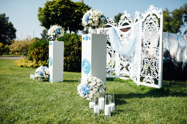 Beautiful wedding decoration in a park