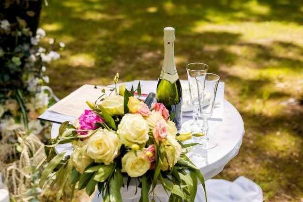Beautiful wedding decorations for the ceremony outside in sunny weather