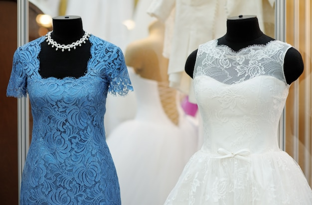Beautiful wedding dresses on a mannequin indoors