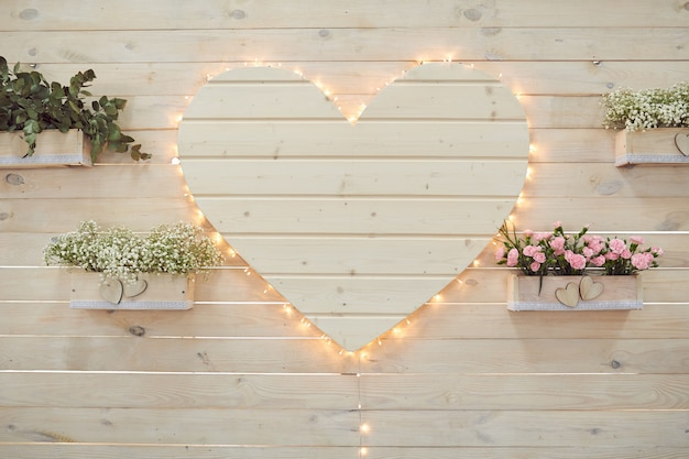 Beautiful wedding heart decor for photographing in rustic style.