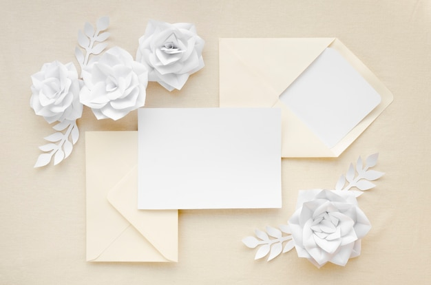 Beautiful wedding invitation flat lay