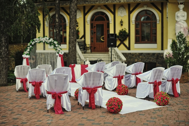 Beautiful wedding set up of ceremony