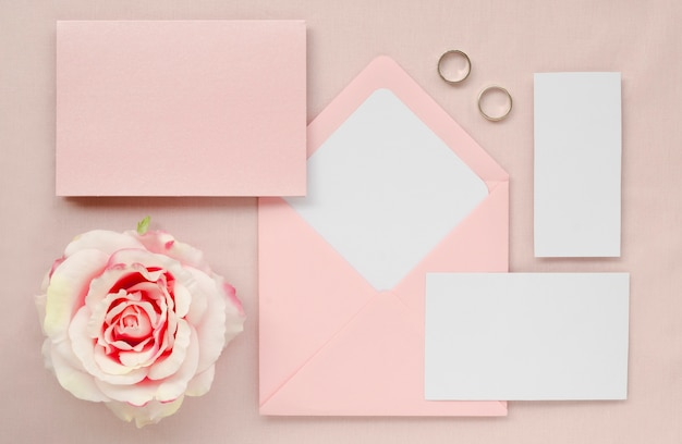 Beautiful wedding stationery top view