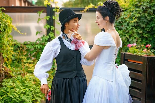 Beautiful wedding of two women, creative people, same-sex marriage